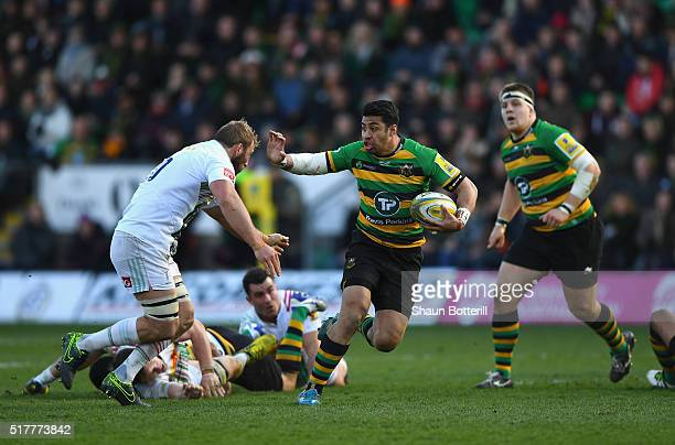 George Pisi of Northampton Saints breaks with the ball during the Aviva Premiership match between Northampton Saints and Harlequins at Franklin's...