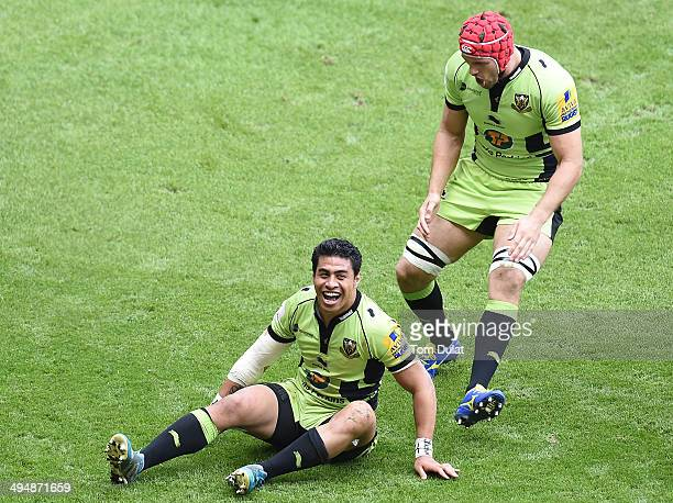 George Pisi of Northampton Saints celebrates his try with Christian Day during the Aviva Premiership Final between Saracens and Northampton Saints at...