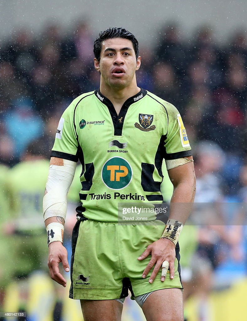 George Pisi of Northampton Saints during the Aviva Premiership match between Sale Sharks and Northampton Saints at A J Bell Stadium on March 22, 2014 in Salford, England
