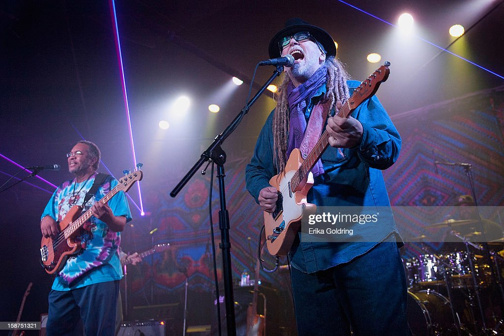 George Porter, Jr. and Malcolm 'Papa Mali' Welbourne perform at George Porter, Jr.'s Birthday Bash at The Howlin' Wolf on December 26, 2012 in New Orleans, Louisiana.