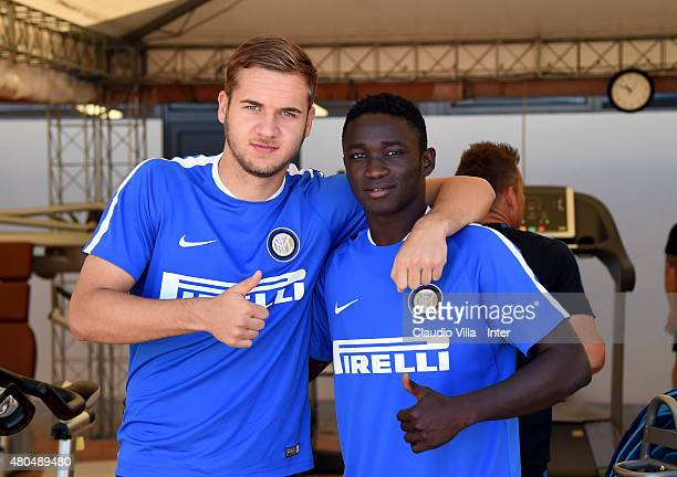 George Puscas and Gaston Camara attend the FC Internazionale training session at Riscone di Brunico on July 12 2015 in Bruneck Italy