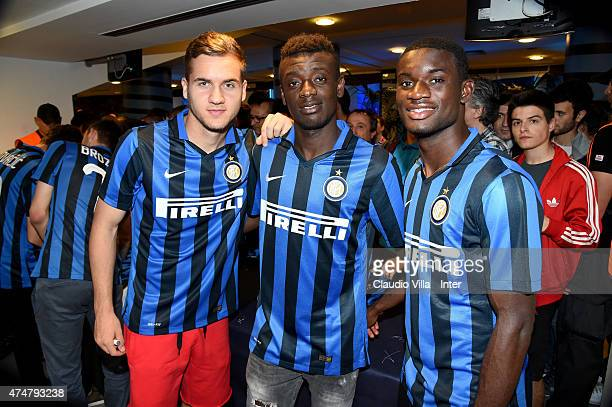 George Puscas Assane Demoya Gnoukouri and Isaac Donkor of FC Internazionale during Inter Night at Stadio Giuseppe Meazza on May 26 2015 in Milan Italy