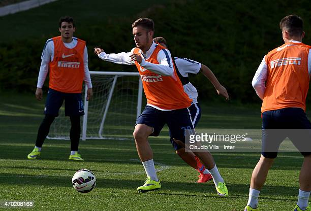 George Puscas in action during FC Internazionale training session at the club's training ground at Appiano Gentile on April 18 2015 in Como Italy