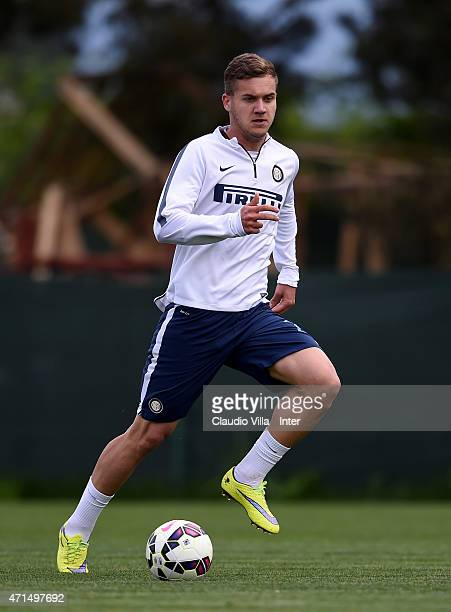 George Puscas in action during FC Internazionale training session at the club's training ground at Appiano Gentile on April 29 2015 in Como Italy