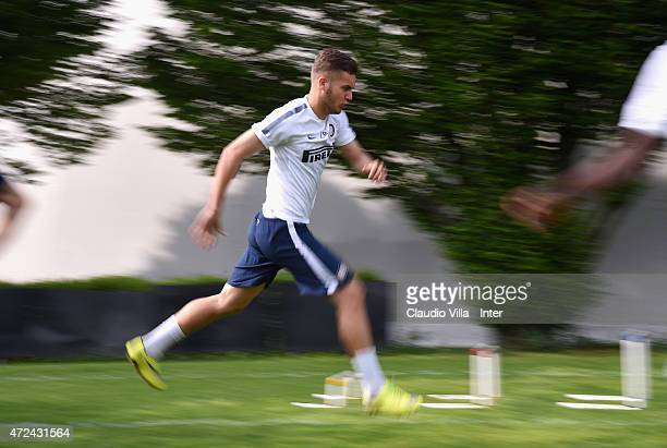 George Puscas in action during FC Internazionale training session at the club's training ground at Appiano Gentile on May 07 2015 in Como Italy