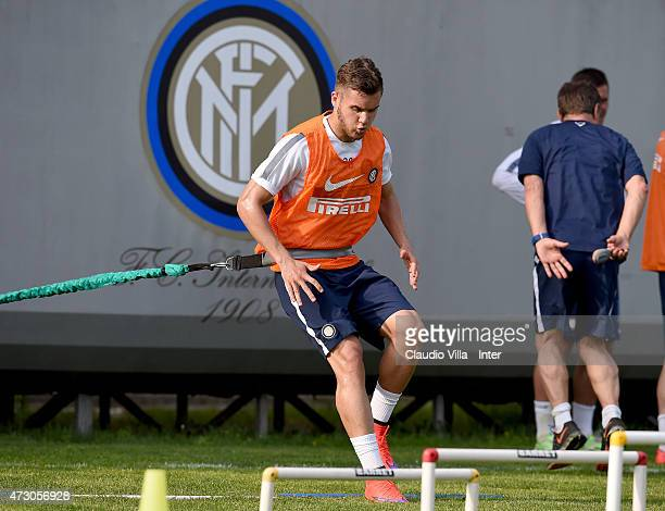 George Puscas in action during FC Internazionale training session at the club's training ground at Appiano Gentile on May 12 2015 in Como Italy