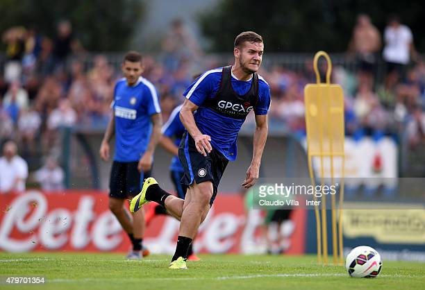 George Puscas in action during FC Internazionale training session at Riscone di Brunico on July 6 2015 in Bruneck Italy