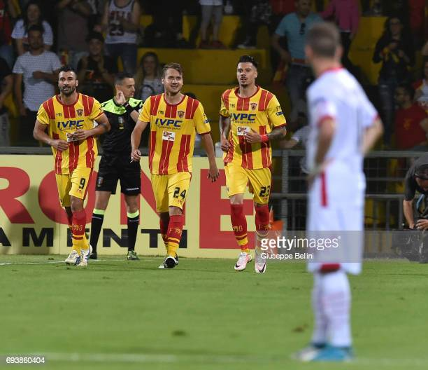George Puscas of Benevento Calcio celebrates after scoring the opening goal during the Serie B Play off Final match between Benevento Calcio and...