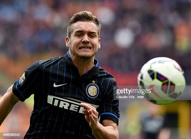 George Puscas of FC Internazionale in action during the Serie A match between FC Internazionale Milano and Parma FC at Stadio Giuseppe Meazza on...
