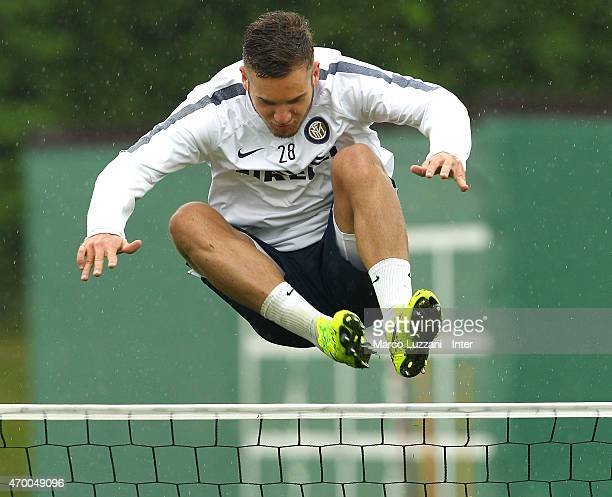 George Puscas of FC Internazionale Milano in action during FC Internazionale training session at the club's training ground on April 17 2015 in...