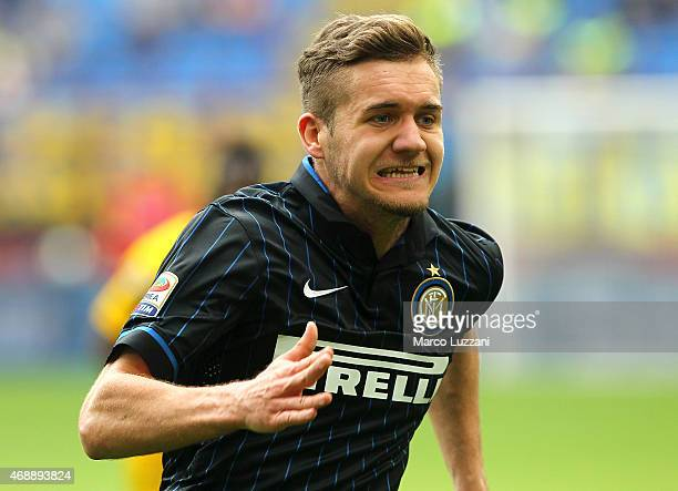 George Puscas of FC Internazionale Milano in action during the Serie A match between FC Internazionale Milano and Parma FC at Stadio Giuseppe Meazza...