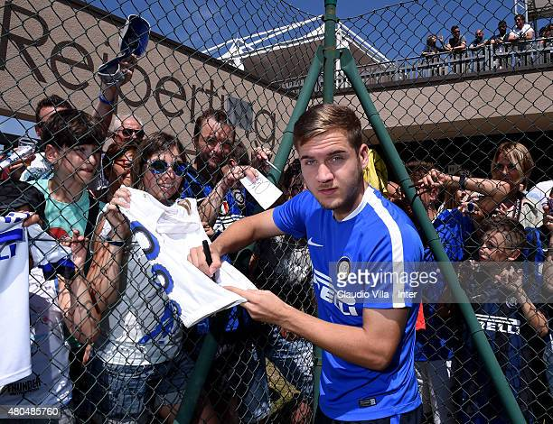 George Puscas signs autographs for the fans at the end of the FC Internazionale training session at Riscone di Brunico on July 12 2015 in Bruneck...