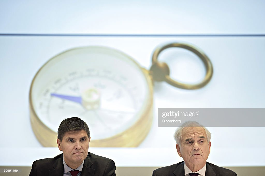George Quinn, chief financial officer of Zurich Insurance Group AG, left, and Tom de Swaan, chairman and interim chief executive officer of Zurich Insurance Group AG, look on during the company's full year results news conference in Zurich, Switzerland, on Thursday, Feb. 11, 2016. Zurich Insurance reported a worse-than-expected loss in the fourth quarter as the company makes plans to turn around its unprofitable general insurance unit. Photographer: Michele Limina/Bloomberg via Getty Images Tom de Swaan; George Quinn