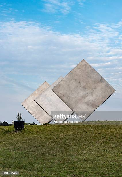 George Rickey's 'Three squares' art installation in Naoshima Japan