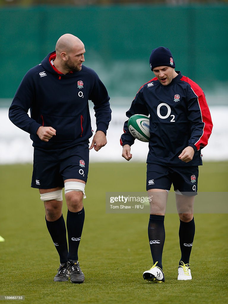 George Robson and Richard Wrigglesworth of England have a chat during the England Saxons training session at Maidenhead Rugby Ground on January 22, 2013 in Guildford, England.