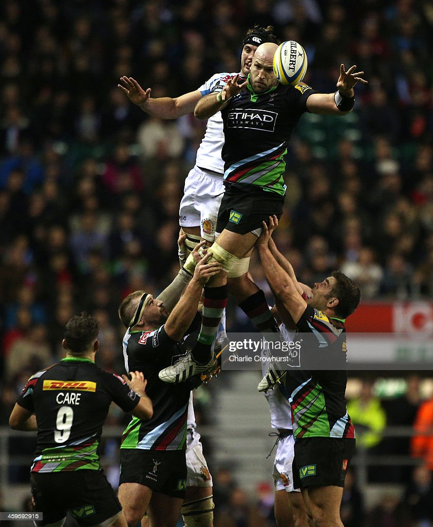 George Robson of Harlequins wins the ball in the line out during the Aviva Premiership match between Harlequins and Exeter Chiefs at Twickenham Stadium on December 28, 2013 in London, England.