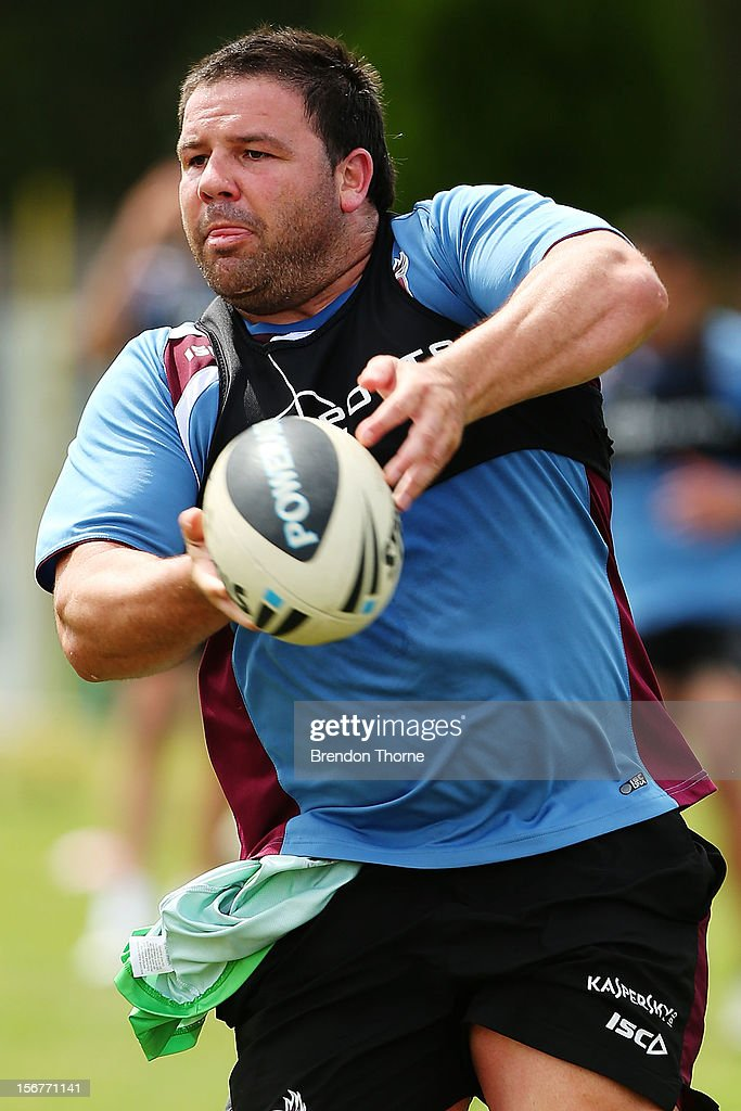 George Rose of the Sea Eagles passes during a Manly Sea Eagles NRL pre-season training session at Sydney Academy of Sport on November 21, 2012 in Sydney, Australia.