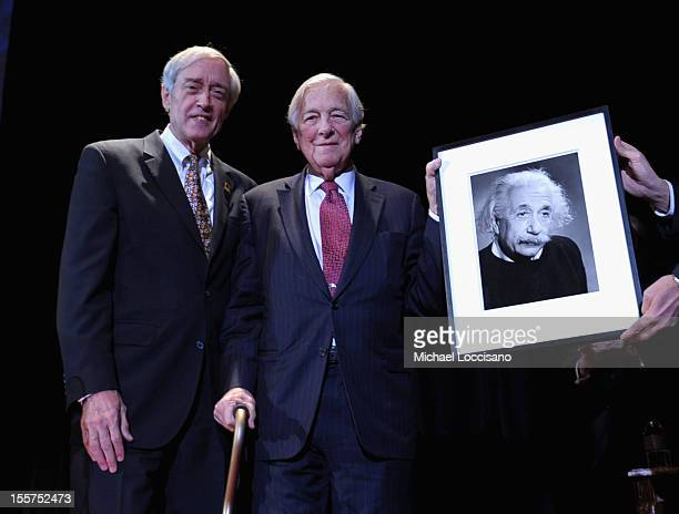 George Rupp and Honoree John C Whitehead pose onstage at the annual Freedom Award Benefit hosted by the International Rescue Committee at The...