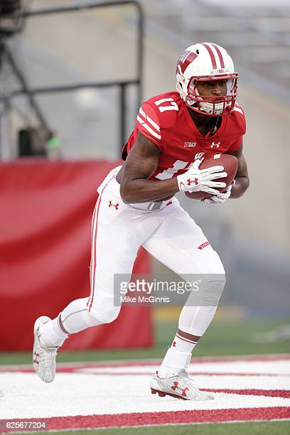 George Rushing of the Wisconsin Badgers runs through pre game before the start of the game against the Nebraska Cornhuskers at Camp Randall Stadium...
