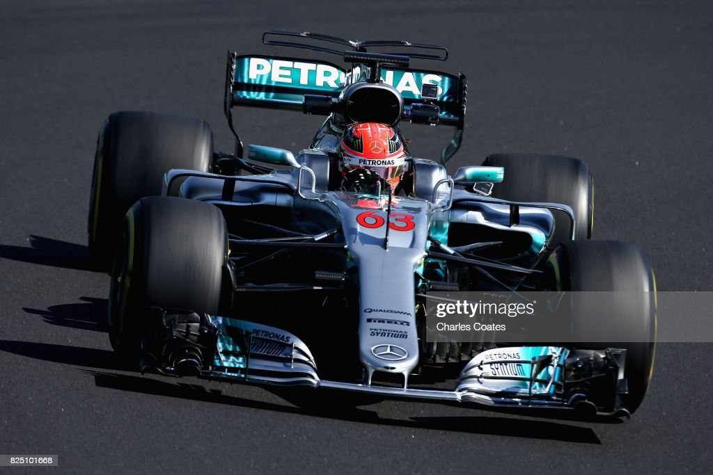 George Russell of Great Britain driving the (63) Mercedes AMG Petronas F1 Team Mercedes F1 WO8 during day one of F1 in-season testing at Hungaroring on August 1, 2017 in Budapest, Hungary.