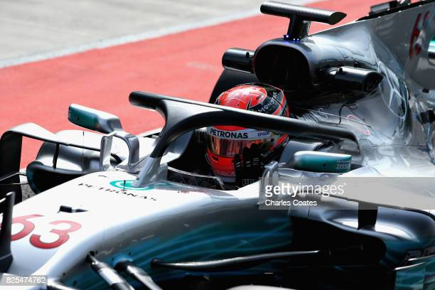George Russell of Great Britain driving the Mercedes AMG Petronas F1 Team Mercedes F1 WO8 fitted with the halo in the Pitlane during day two of F1 in...