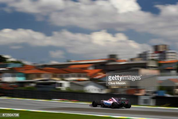 George Russell of Great Britain driving the Sahara Force India F1 Team VJM10 on track during practice for the Formula One Grand Prix of Brazil at...