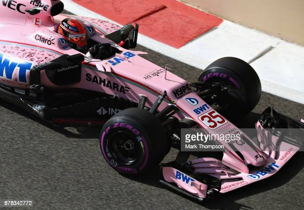 George Russell of Great Britain driving the Sahara Force India F1 Team VJM10 on track during practice for the Abu Dhabi Formula One Grand Prix at Yas...