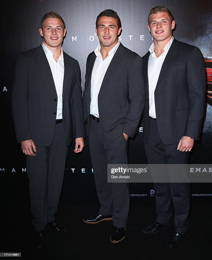 George, Sam and Tom Burgess attend the 'Man Of Steel' Australian Premiere at Event Cinemas, George Street on June 24, 2013 in Sydney, Australia.