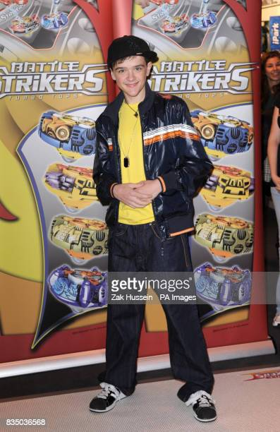 George Sampson launches Battle Strikers Turbo Tops at the Toy Fair 2009 at ExCeL in east London