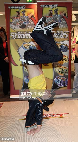 George Sampson shows off his dancing skills to help promote new game Battle Strikers at the Toy Fair on January 28 2009 at Excel in London England