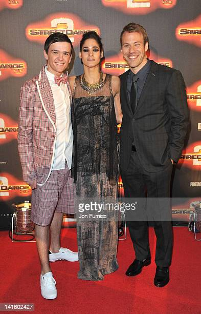 George Sampson Sofia Boutella and Falk Hentschel attend the world premiere of Streetdance2 3D at O2 Arena on March 19 2012 in London England
