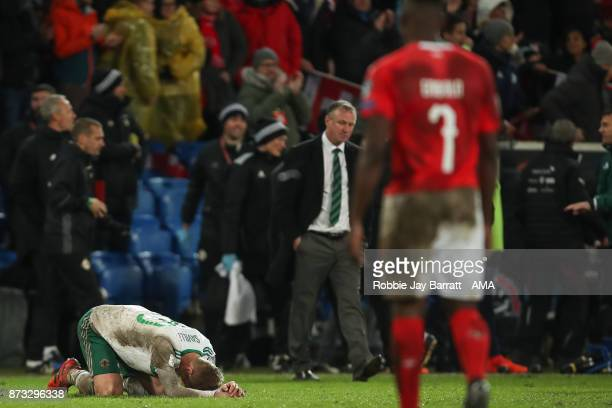 George Saville of Northern Ireland reacts at full time during the FIFA 2018 World Cup Qualifier PlayOff Second Leg between Switzerland and Northern...