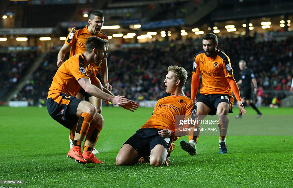 George Saville of Wolverhampton Wanderers celebrates after he scores a goal to make it 1-1 during the Sky Bet Championship match between MK Dons and Wolverhampton Wanderers at Stadium mk on April 5, 2016 in Milton Keynes, United Kingdom.