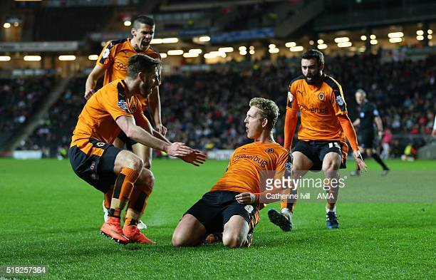 George Saville of Wolverhampton Wanderers celebrates after he scores a goal to make it 11 during the Sky Bet Championship match between MK Dons and...