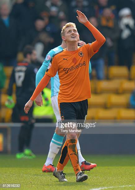 George Saville of Wolverhampton Wanderers celebrates scoring their first goal during the Sky Bet Championship match between Wolverhampton Wanderers...