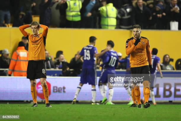 George Saville of Wolverhampton Wanderers reacts after Chelsea scored the first goal to make it 01 during the Emirates FA Cup Fifth Round match...