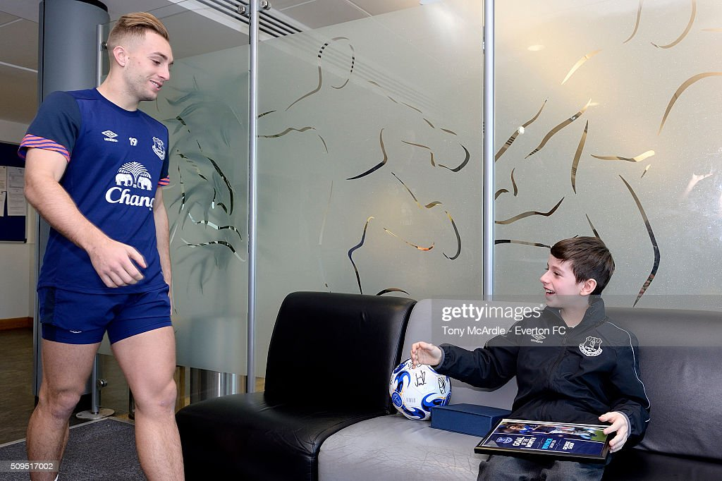 George Shaw meets Gerard Deulofeu after being presented the Everton goal of the month award at Finch Farm on February 11, 2016 in Halewood, England.