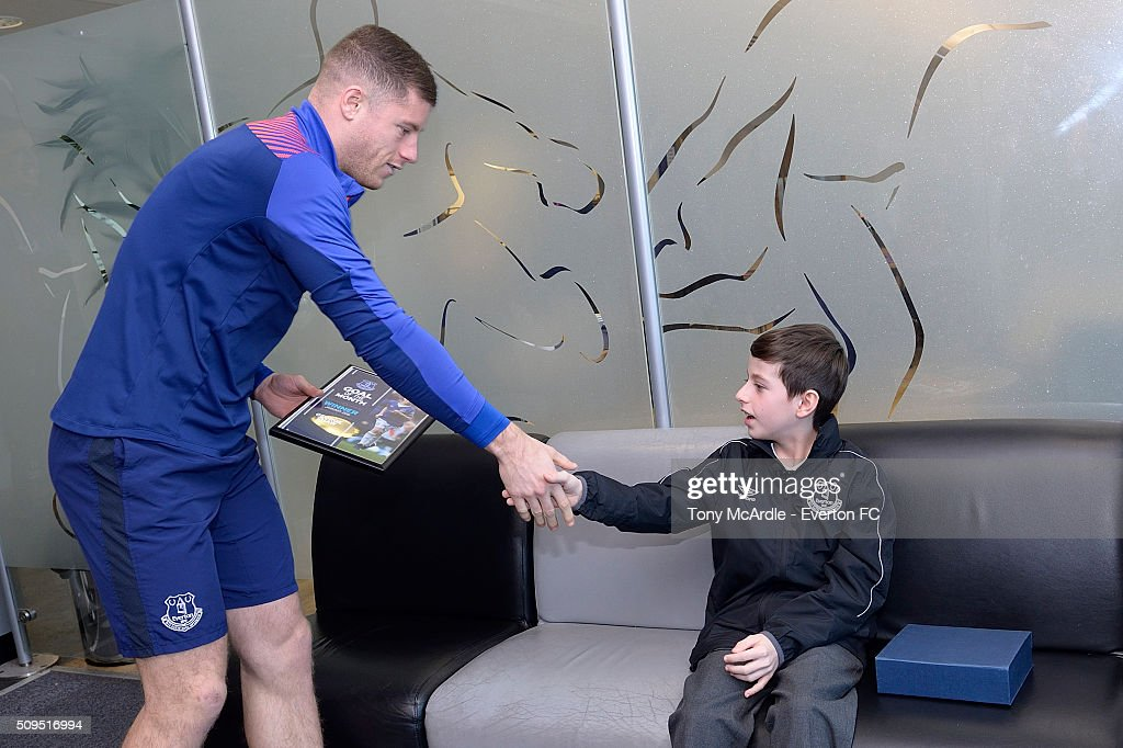 George Shaw meets Ross Barkley after being presented the Everton goal of the month award at Finch Farm on February 11, 2016 in Halewood, England.