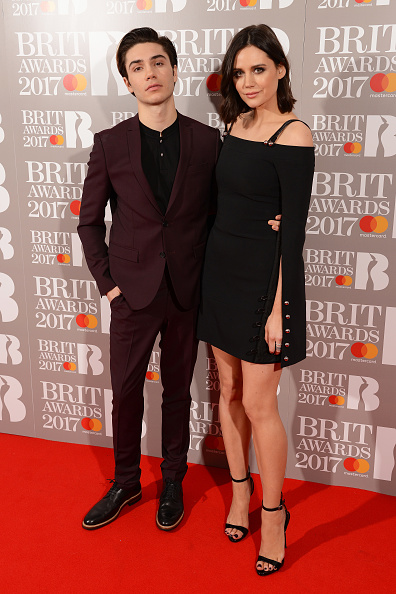 George Shelley and Lilah Parsons at  Brits Red Carpet live show in 2017