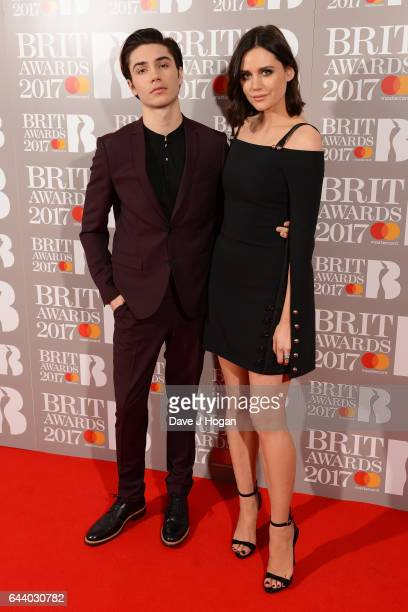 ONLY George Shelley and Lilah Parsons attend The BRIT Awards 2017 at The O2 Arena on February 22 2017 in London England