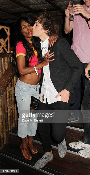 George Shelley and Sinitta pose during the Capital Summertime Ball after party at Mahiki on June 9 2013 in London England