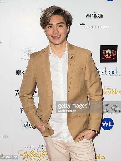 George Shelley arrives for the WhatsOnStage Awards at Prince Of Wales Theatre on February 21 2016 in London England