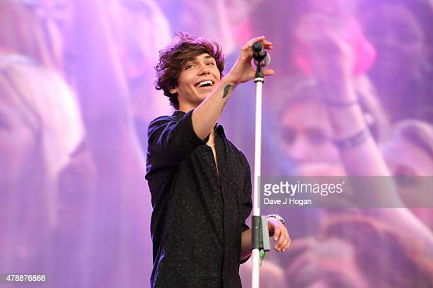 George Shelley from Union J performs at the Barclaycard British Summertime gigs at Hyde Park on June 28 2015 in London England