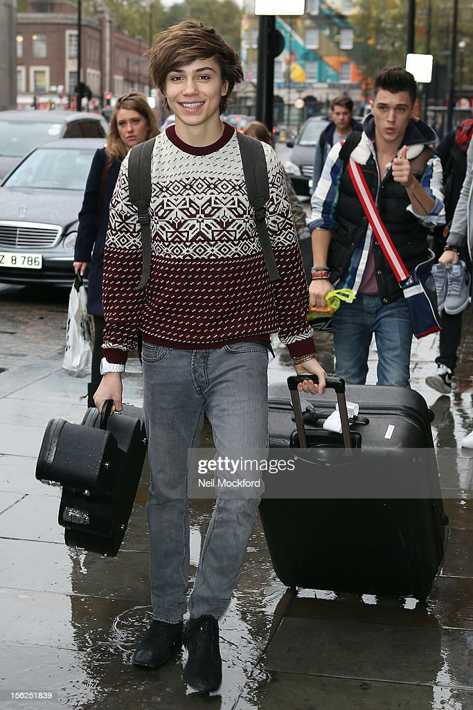George Shelley from X Factor 2012 seen at Kings Cross St Pancras Eurostar on November 12, 2012 in London, England.