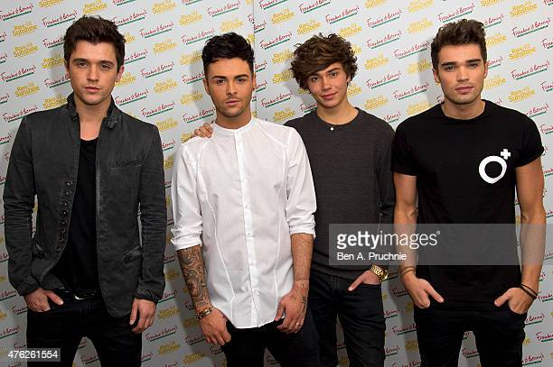 George Shelley Jaymi Hensley JJ Hamblett and Josh Cuthbert of Union J attends the Frankie and Benny's Rays of Sunshine Concert at the Royal Albert...