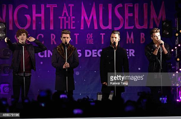 George Shelley JJ Hamblett Jaymi Hensley and Josh Cuthbert from Union J perform prior to the Regent Street Christmas Lights being switched on by Take...