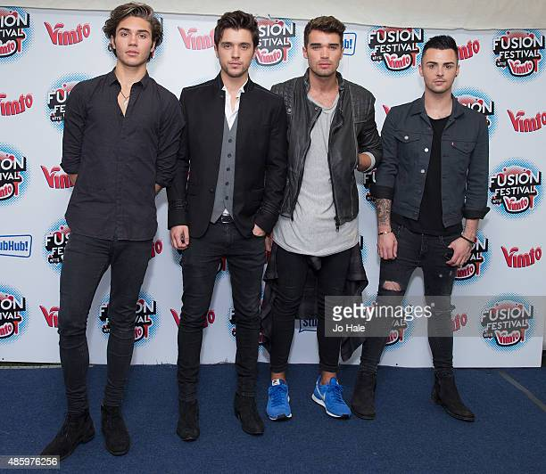 George Shelley JJ Hamblett Josh Cuthbert and Jaymi Hensley of Union J pose in the Press Room at Fusion Festival at Cofton Park on August 30 2015 in...
