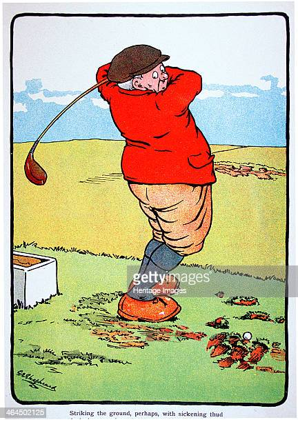 George Shepheard golfing postcard c1920s Striking the ground perhaps with sickening thud