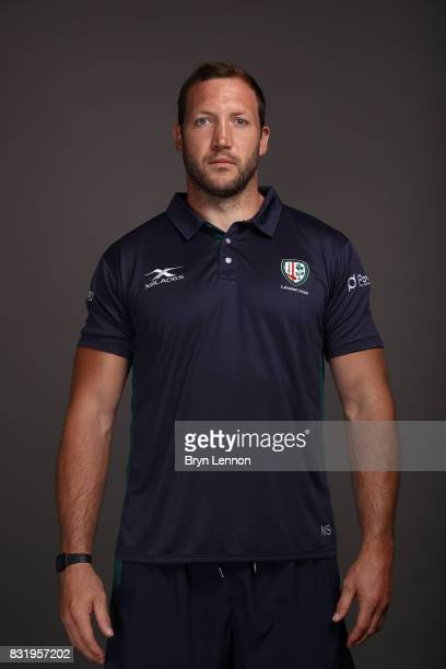 George Skivington of London Irish poses for a portrait during the London Irish squad photo call for the 20172018 Aviva Premiership Rugby season on...