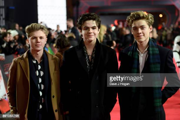 George Smith Blake Richardson and Reece Bibby of 'New Hope Club' attend the European Premiere of 'Star Wars The Last Jedi' at Royal Albert Hall on...